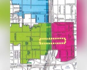 This expansion map, which was approved by the City Council in October, shows the three zones of the expansion of the then Church Street District into Parramore. COURTESY OF CITY DISTRICT