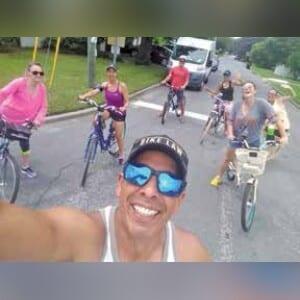 Enrique Mercado with fellow cyclists on the inaugural Cool Cruisers ride July 13. ENRIQUE MERCADO