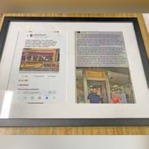 """Let Us Frame It memorialized the Facebook posts in a custom frame and presented it to the Pelegrino family as """"a reminder to never give up hope."""" JORDAN ELLIS"""